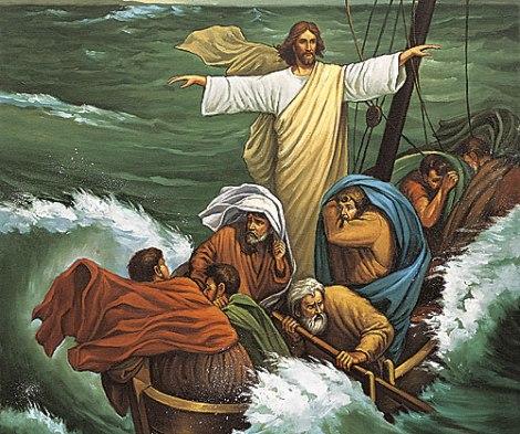 Jesus rebukes the storm